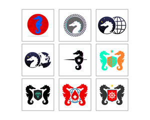 seahorses nautical marine life image vector icon logo symbol set