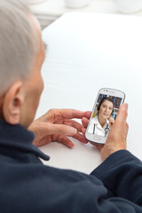 Old person smartphone telemedicine telehealth