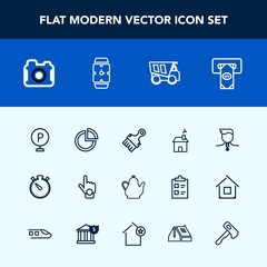 Modern, simple vector icon set with lot, gesture, house, index, estate, sign, atm, building, home, winner, bank, technology, presentation, time, vehicle, medal, drink, business, watch, timer icons