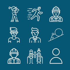 Set of 9 man outline icons