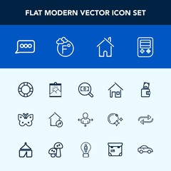 Modern, simple vector icon set with speech, house, picture, money, nature, fahrenheit, thermometer, frame, architecture, building, fly, pool, sign, ring, dollar, web, chat, temperature, find icons