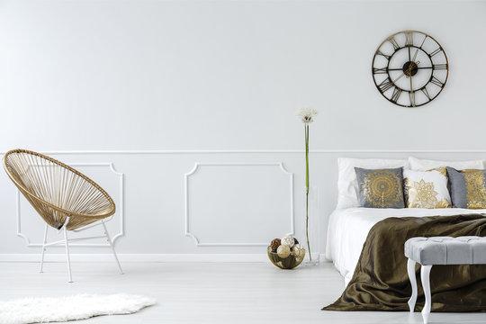 Gold bedroom interior