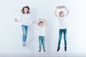 Group of jumping children