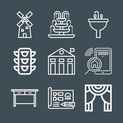Buildings icon set - outline collection of 9 vector icons