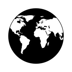 Earth icon, globe in trendy flat style isolated on white background. Earth planet world map. Vector.