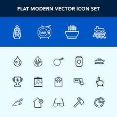 Modern, simple vector icon set with ocean, soup, lamp, container, landscape, achievement, hot, environment, blank, tree, ship, sea, forest, boat, war, drop, people, vintage, frame, yacht, water icons