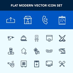 Modern, simple vector icon set with telephone, drill, page, backdrop, scene, hand, blank, download, fun, photo, room, chair, equipment, boat, mobile, home, profile, ocean, property, cell, upload icons