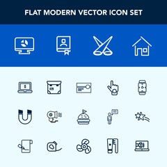 Modern, simple vector icon set with cassette, house, hair, electric, business, bread, home, stereo, clock, notebook, index, people, science, infographic, screen, computer, time, professional icons