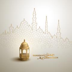 Ramadan Kareem arabic calligraphy greeting design islamic line mosque dome with classic pattern and lantern