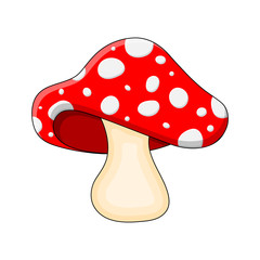 cartoon mushroom toadstool isolated on white background