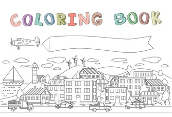 Contour image of town with houses, cars, plane and boat. Copyspace on banner. Line vector illustration for coloring book. Cartoon style. Horizontal.