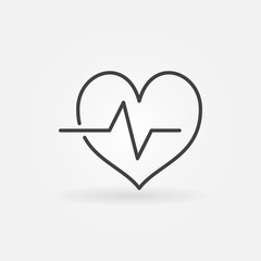 Cardiac cycle outline icon. Vector heartbeat line symbol