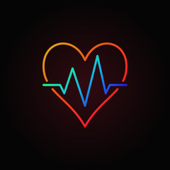 Heart beat vector colored icon. Heartbeat outline sign
