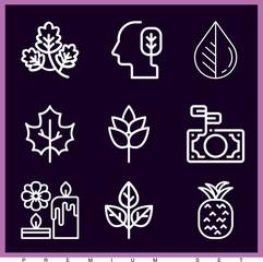 Set of 9 leaf outline icons