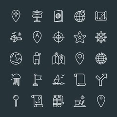 Modern Simple Set of location, travel Vector outline Icons. Contains such Icons as  global,  destination,  tank, scuba,  luggage,  way,  id and more on dark background. Fully Editable. Pixel Perfect.