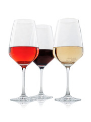 Group of wineglasses with white red and rose wines isolated on white background for individual designs and graphics