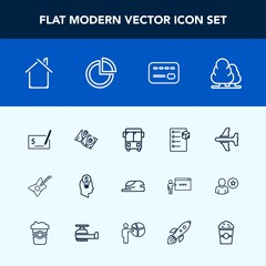 Modern, simple vector icon set with pay, business, tree, card, check, flight, house, road, box, sign, white, idea, building, music, aircraft, chart, plane, pen, bus, hat, airplane, speed, guitar icons