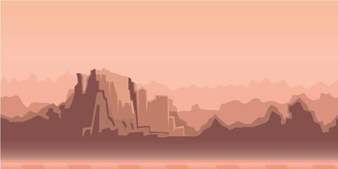 Misty canyon morning landscape, beige tone. Vector illustration. Flat style. Horizontal