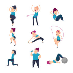 Girl does basic exercises and strengthens her muscles