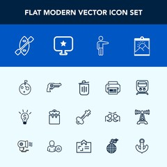 Modern, simple vector icon set with garbage, lock, pretty, concept, transport, white, gun, trash, moon, recycling, bin, key, railway, pistol, people, transportation, flag, weapon, picture, space icons