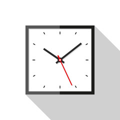 Clock icon in flat style, square timer on white background. Business watch. Vector design element for you project