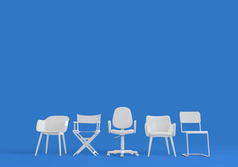 Row of differnt chairs. Job interview, recruitment concept. 3D rendering