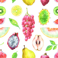 Hand painted seamless exotic pattern with watercolor fig, pitaya, quince, muskmelon, horned melon, grapes, lychee, kiwi isolated on white background