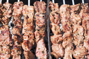 Not prepared barbecue on skewers