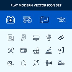 Modern, simple vector icon set with web, oar, document, stationary, college, boat, truck, photographer, pc, red, technology, wine, mobile, photography, decoration, card, business, link, internet icons