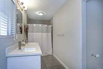 Interior of neutral bathroom with double vanity cabinet