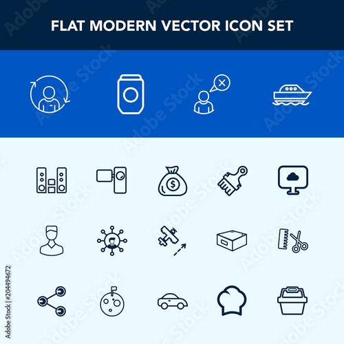 Modern, simple vector icon set with finance, blue, sky
