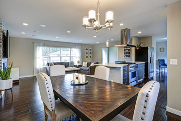 Light and open dining area in one story rambler.
