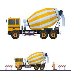 Vector concrete mixer, illustration concrete mixer and builder, builder with shovel in helmet