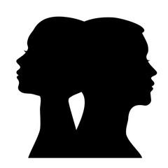 Male and female profile silhouette
