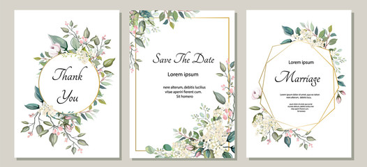 Set of card with flower, leaves. Wedding ornament concept. Floral poster, invite. Vector decorative greeting card or invitation design background Wall mural