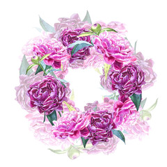 Watercolor botanical illustration. Wreath border frame with peony flowers.