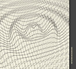Rippled background template. Abstract science or technology illustration with particle. 3D grid surface. Can be used for wallpaper, presentation, banner and cover.