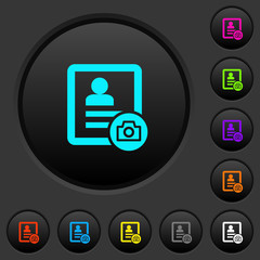 Contact profile picture dark push buttons with color icons