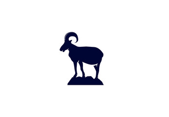 Vector Logo Of Wild Ram On Mountain