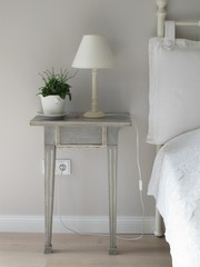 Bed, Lamp, Bedroom, White, Nightstand, Light, Table, Room, Bedside Table, Cord, Plant, Plant Pot