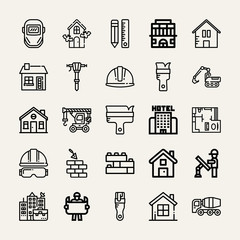 Set of 25 construction outline icons