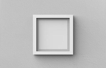 White blank photo frame on grey wall background, 3d illustration