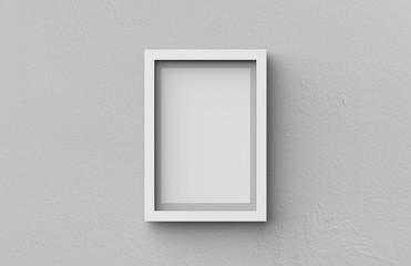 White blank photo frame on grey wall background, 3d illustration