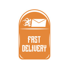Raster drawing, mailbox with the inscription fast delivery