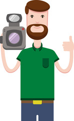 A happy bearded man holds a video camera and shows the likes
