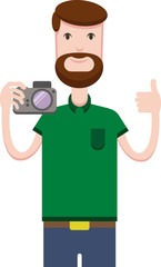 White man with a beard stands on a white background holds the camera and shows a thumbs up