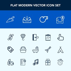 Modern, simple vector icon set with boat, object, planet, construction, web, sport, blank, exit, white, space, frame, canoe, building, picture, photo, modern, pointer, furniture, referee, escape icons