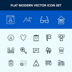 Modern, simple vector icon set with bodysuit, picture, machine, flag, black, cart, account, play, girl, online, internet, audio, photo, magnifying, eye, cash, nation, customer, web, frame, cute icons
