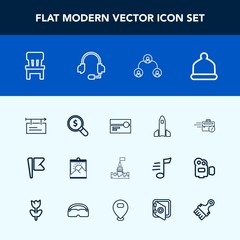 Modern, simple vector icon set with hierarchy, comfortable, castle, billboard, flag, picture, sitting, launch, national, audio, business, home, shuttle, head, space, computer, cap, science, find icons