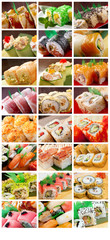 Food set Japanese Cuisine - Sushi Roll .